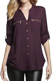 CALVIN KLEIN Women's Zipper Roll Sleeve Shirt