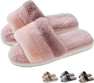 Share Maison Unisex Men's Women's Winter Furry Warm Slippers Indoor Memory Foam House Home Shoes