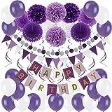 Zerodeco Geburtstagsdeko, Happy Birthday Wimpelkette Banner Girlande mit Pompoms Papier Girlande Fans Fächer Dreieckige Wimpel Spiral Girlanden und Luftballon - Violett