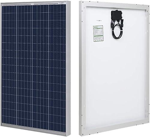 HQST 100 Watt Polycrystalline 12V Solar Panel with Solar Connectors High Efficiency Module PV Power for Battery Charg...