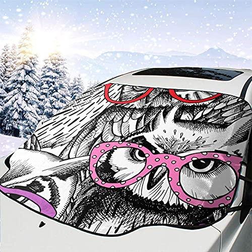 Tcerlcir Parabrisas de Coche Cubierta de Nieve Gafas Patrón de búhos Cubierta de Parabrisas Cubierta de Nieve Delantera Parasol Protector de Parasol Plegable, 147x118cm