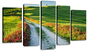 Beautiful view of green fields and meadows at sunset, Tuscany Modern Art Painting set Digital Print Picture on Canvas Framed Artwork Wall Decor Living Room Office Bedroom 5 Pieces