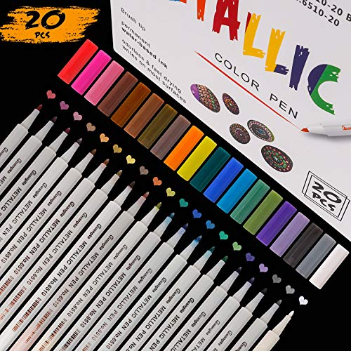 Rotuladores Metálicos 20 Colores Surtidos Bolígrafos de Pintura para Dibujo de álbum de Fotos, Regalo de Cumpleaños por Bricolaje, Hacer Tarjetas, Scrapbooking, Pintura de Roca Vidrio
