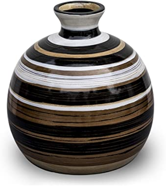7.5 x 8.3 Inch Handmade Natural Wood vase Wooden Flower Vase Decorative Vases for Home Office Table Decor Gift
