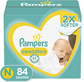 Diapers Newborn / Size 0 (< 10 lb), 84 Count – Pampers Swaddlers Disposable Baby..