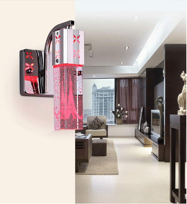 LQFLD Wandleuchte Wohnzimmer Einfache Edelstahl LED Wandleuchte Kristallwandleuchte,rotlight