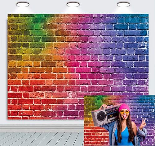 BINQOO 7 x 5 pies colorido ladrillo pared fotografía fondo graffiti ladrillo foto telón de fondo niños fiesta de cumpleaños banner niños pastel Smash foto fotoshoot accesorios