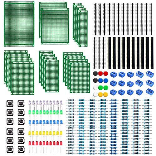 WayinTop Doppelseitig PCB Board 6 Größen mit Elektronik Komponenten Kit, 2,54mm Stiftleiste + 2/3 Pin Screw Terminal Block + Widerstände Sortiment 10-1M Ohm+ 5mm Led Dioden + Tactile Tastschalter
