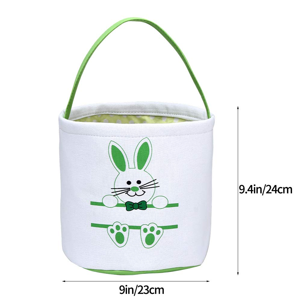Easter Bunny Basket Easter Bucket for Boys Girls Easter Gift Bags Personalized Eggs Hunt Bag Kids Bunny Tote Bag Candy and Gifts Carry Bucket Easter Decorations