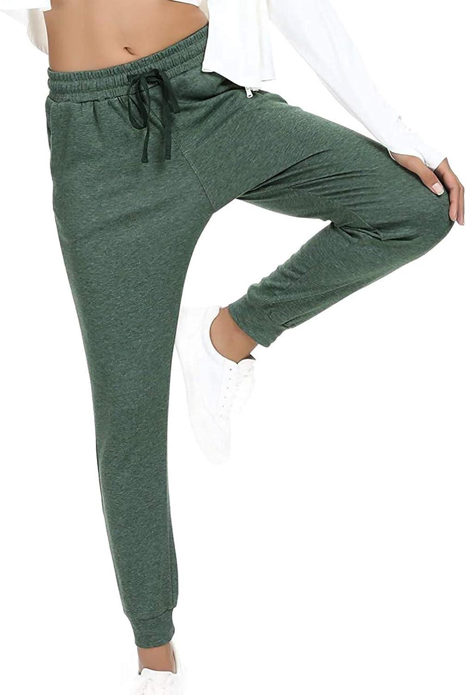Jumaocio Women Sports Pants Solid Color Straight Elastic Waist Trousers (Army Green-2, S)
