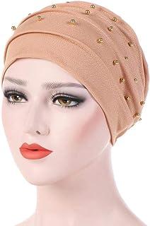 SUKEQ Women's Cotton Beading Beanie Chemo Cap Lightweight Slouchy Turban Hat Shirred Head Wrap Scarf for Hair Loss, Cancer