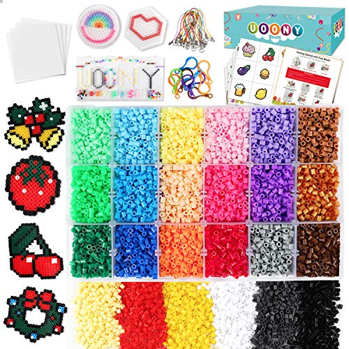 UOONY 14000pcs Fuse Beads Craft Kit 24 Colors 5mm Pearler Beads with Storage Box, 4 pegboards,110 Patterns Melty Fusion Colored Beads Set for Kids Home Class Activity