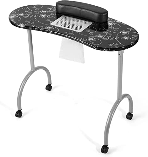 popular Artist Hand Nail Table, Portable Nail Desk with Fan, Folding Manicure Nail Table Station with Electric Dust Collector, Wrist Cushion, 2021 4 Lockable Wheels, Waterproof online sale Bag, 35x16x28-1/2'', Black online sale