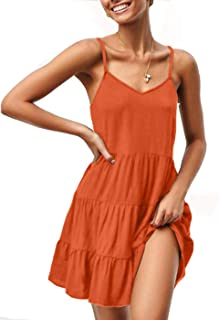 Beyove Womens Summer Dresses V Neck Sleeveless Spaghetti Strap Sundress Pleated Loose Swing Casual T Shirt Dress