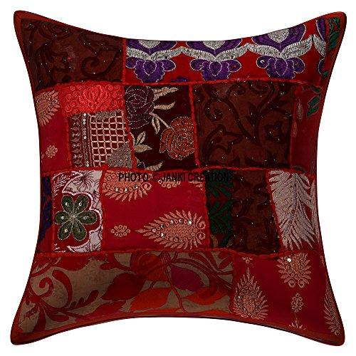 Janki Creation Bohème Boho Indien, Ethnique Home Décoration Indienne Canapé Housse de Coussin 61 x 61 cm 1 pièce Housse de Coussin Set