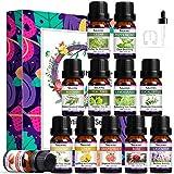 SALKING 12x 10 ml Aceites Esenciales para Humidificador,100% Puro Aceites Esenciales Aromaterapia-Lavanda,Rosa,Jazmín,Árbol de Té,Romero,Limoncillo,Menta,Eucalipto,Cedro, limón,Pomelo, Fresa