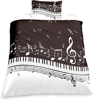 Suncloris, Melody Music Duvet Cover Set, Black Piano Keyboar