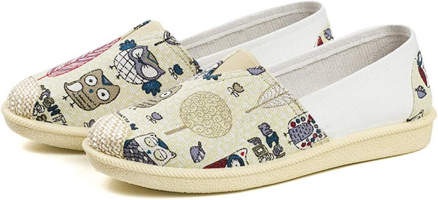 Womens Canvas shoes Fashion Printed Round Toe Flats Breathable Slip On Loafers
