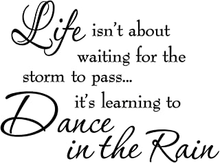 Life Isnt About Waiting for the Storm To Pass Its Learning To Dance In The Rain Vinyl Wall Decal Inspirational Quotes