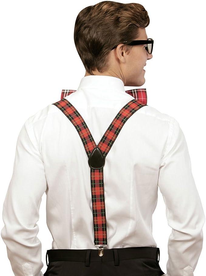 NET TOYS Set Disfraz Friki Vestimenta empollón a Cuadros Tirantes Pajarita Gafas Cuadros Escoceses Atuendo Geek Outfit hortera Bad Taste Disfraz de ...