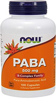 NOW Supplements, PABA (Para-Aminobenzoic Acid) 500 mg, B-Complex Family, 100 Capsules