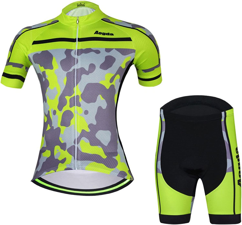 Aogda Cycling Jersey Women Biking Bike Shirt and Bib Shorts Clothing