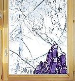 Purple Amethyst Stained Glass Crystals - Crystal - Quartz - See-Through Vinyl Window Decal - Yadda-Yadda Design Co. (Med 6'w x 5.5'h)(Purple)