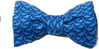 Men's Micro Sharks Blue 100% Silk Freestyle Self Tie Bowtie Bow Tie Neckwear