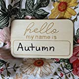 Personalized Wood Birth Announcement Hello My Name is Card for Newborn Photo Props