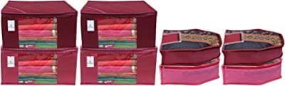 Kuber Industries Non Woven 4 Pieces Saree Cover/Cloth Wardrobe Organizer and 4 Pieces Blouse Cover Combo Set (Pink & Maroon)