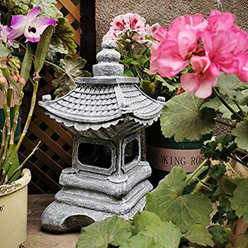 Uziqueif Dekor Pagode Laterne Statue,Mini-Laterne, Asiatische Pagode Für Den Außenbereich/Gartendeko, Kunstharz, Mini-Landschaftsdekoration,Frostfest,Grau