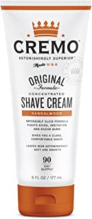 Cremo Sandalwood Shave Cream, Astonishingly Superior Smooth Shaving Cream Fights Nicks, Cuts And Razor Burn, 6 Ounces