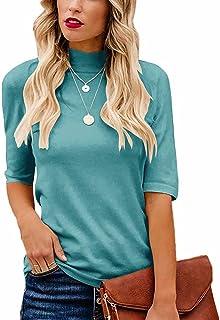 LACOZY Women's Summer Mock Neck Tops Slim Fitted Half Sleeve Cute Shirt Cotton Basic T Shirt