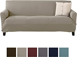 Solid Twill Sofa Slipcover. One Piece Stretch Couch Cover. Strapless Arm Sofa Cover for Living Room. Brenna Collection Slipcover. (Sofa, Beige - Solid)