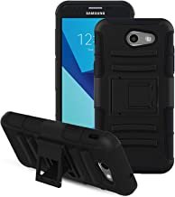 RioGree for Samsung Galaxy J7 Prime Case, Phone Case for Galaxy J7 Sky Pro/Galaxy J7 V / J7 Perx/Galaxy Halo / J7 2017, with Screen Protector Kickstand Cover Skin, Black