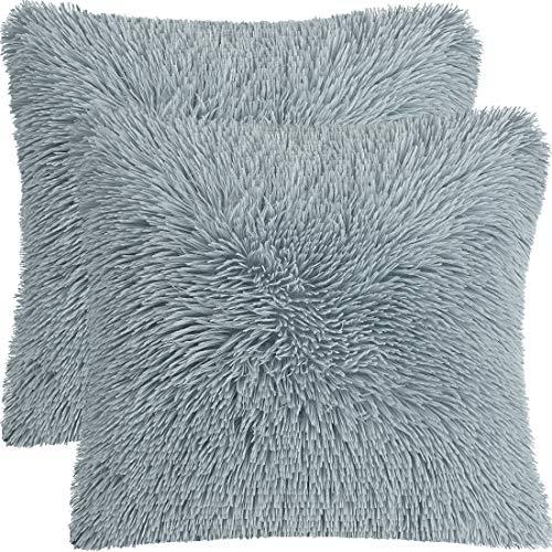 PiccoCasa - Juego de 2 fundas de almohada de piel sintética de estilo largo y lanudo decorativo para sofá, fundas de almohada para salón, dormitorio, asiento de coche, color gris claro 60 x 60 cm
