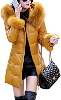 Women's Down Jacket Medium and Long Leather Coat Outdoor Warm Casual Wild Women's Clothing (Color : Yellow, Size : XXXXL)