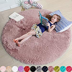 Blush Round Rug for Bedroom,Fluffy Circle Rug 4'X4′ for Kids Room,Furry Carpet for Teen Girls Room,Shaggy Circular Rug for Nursery Room,Fuzzy Plush Rug for Dorm,Blush Carpet,Cute Room Decor for Baby
