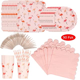 DreamJ 90Pcs Flamingo Disposable Tableware Set, Pink Flamingo Party supplies with Flamingo Plates Cups Knives Napkins Forks Straws Serves 10 for Girls,Boys Baby Showers Birthday Party Favors Decor