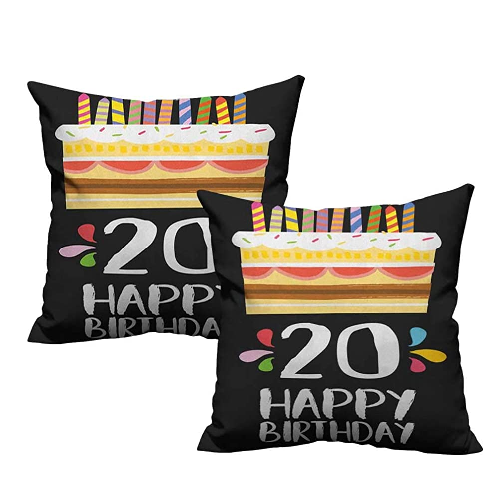 RuppertTextile Creative Pillowcase 20th Birthday Vintage Cartoon Style Delicious Looking Party Cake with Candles on Black Cushion W16 xL16 2 pcs
