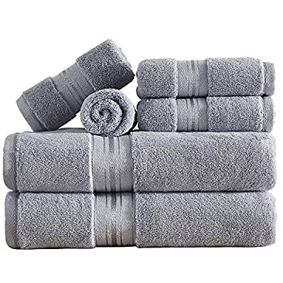 unknwon Soft Luxury Light Grey Bath Towel Set, 6 Piece 100% Cotton Absorbent Towel Set for Bathroom and Hotel, 2 Bath Towels, 2 Hand Towels & 2 Washcloths