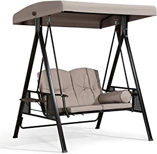 $198 » N/P Porch Swings Hammoc-k Bench Lounge Chair Steel 2-seat 3-seat Padded Outdoor W/Canopy US
