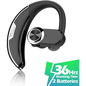 Amazon Com Bluetooth Headset Bluetooth V5 0 Earpiece Wireless Business Headphones Stereo Earphone With Noise Reduction Mic For Cell Phones Skype Office Work Out Trucker Driving Electronics