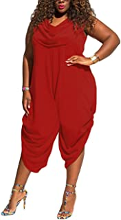 Womens Plus Size Summer Wide Leg Harem Jumpsuits Casual One Piece Romper Outfits