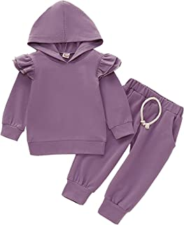Baby Girls Ruffle Long Sleeve Hoodie Tops Sweatshirt and Elastic Waist Pants Solid Color 2Pcs Outfit