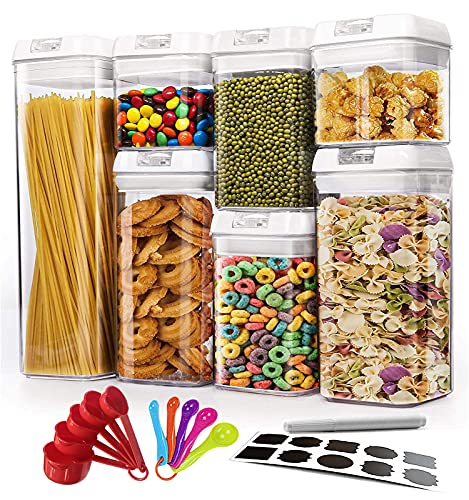 Wookon Airtight Food Storage Container Set .Kitchen & Pantry Organization 7 Pieces BPA Free Plastic for Dry Foods…