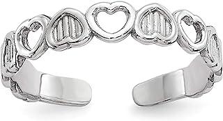 Size 11 Bonyak Jewelry 14k White Gold Polished w//Hearts Toe Ring