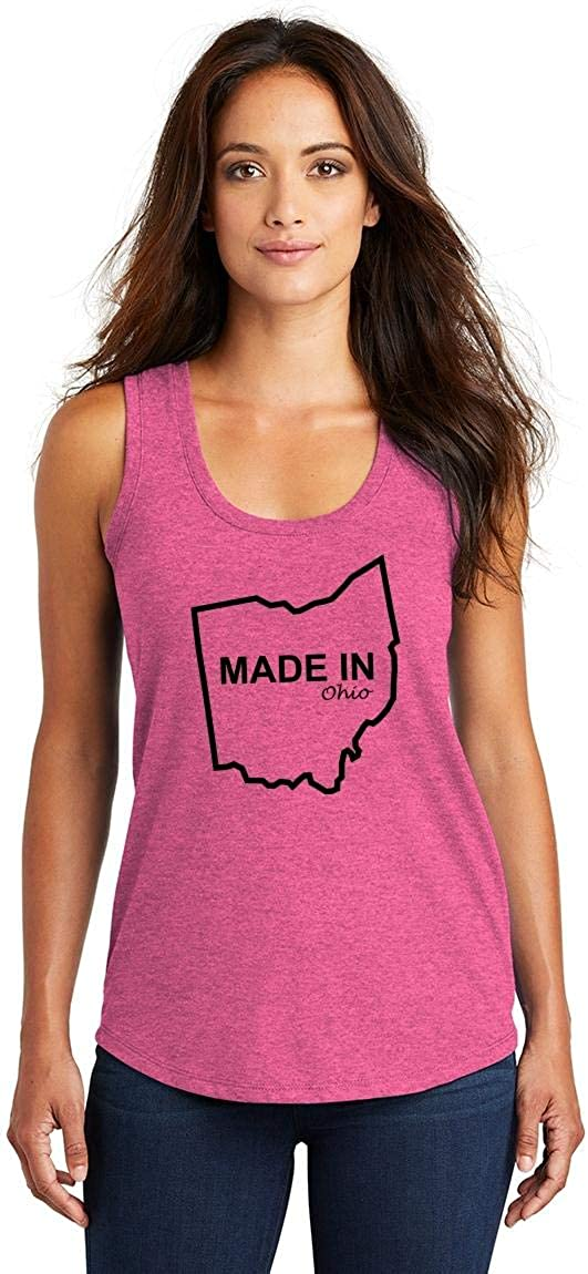 Comical Shirt Ladies Made in Ohio Funny Home State Pride Shirt Tri-Blend Tank Top