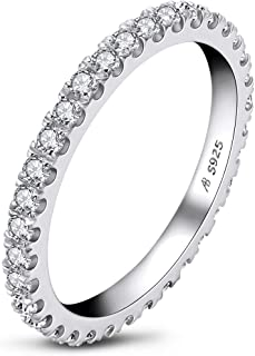 Erllo 1.5mm Sterling Silver CZ Simulated Diamond Stackable Ring All-Around Eternity Bands for Women Size 4-10