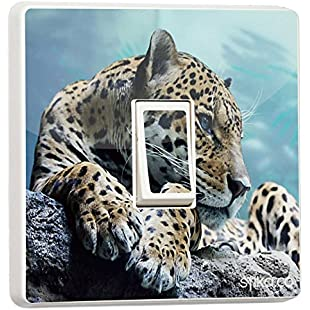 Pretty Light switch decoration stickers - Flower, Animal, Nature, Sport Designs - Generic Single - by stika.co (snow leopard):Anders-als-andere